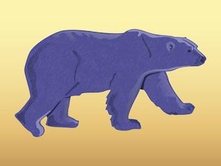 Purple bear walking animal sticker