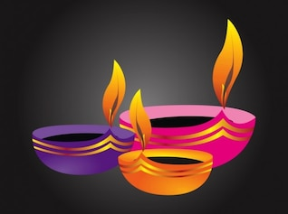 Indian lamp with flames