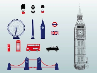 London great britain architecture vectors pack