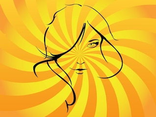 Pretty girl stylized vector illustration