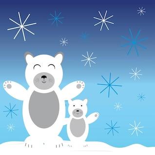 Christmas frost Polar bears vector