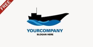 Modern ship in the river logo template
