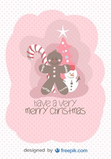 Merry Christmas Greeting Card of Christmas Objects