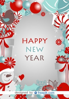 Happy New Year Card with Winter Symbols