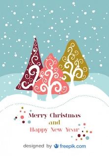 Retro Christmas Vector Postcard Design