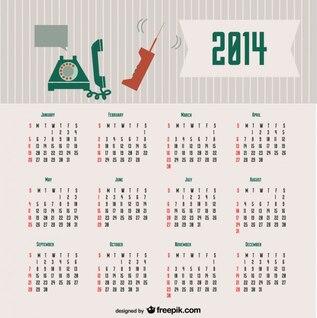 2014 Calendar Retro Communication Concept Design