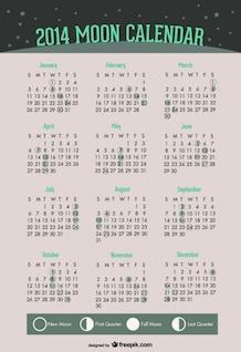 2014 Moon Phases Calendar of Green Design