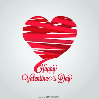Ribbon Heart Shape Valentine's Day Card Design