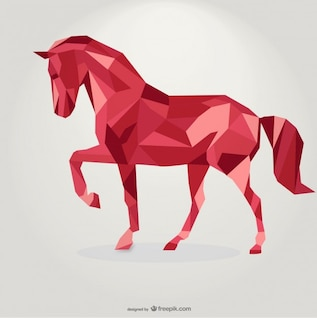 Polygonal Red Horse Geometric Triangle Design