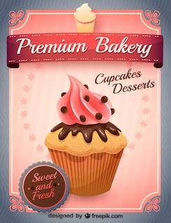 Vector pink cupcake