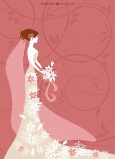 Fashionable wedding card vector