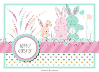 Easter bunny family vector