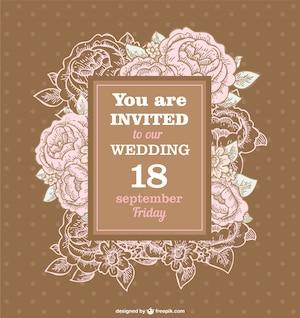 Wedding roses retro invitation