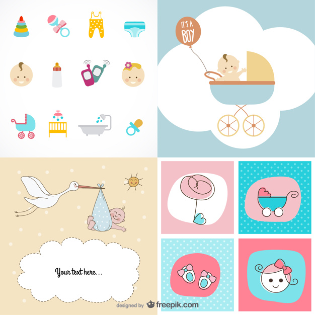 cute baby items theme vector material