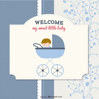 card with baby in stroller in scrapbook style