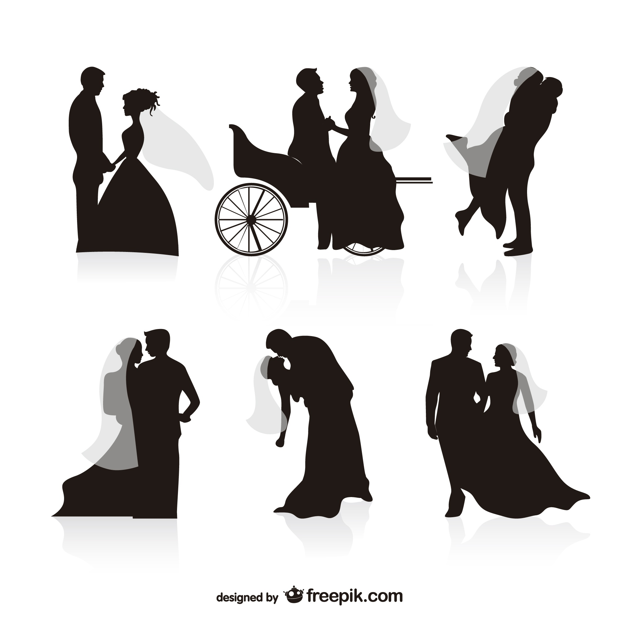 Wedding black silhouettes vectors
