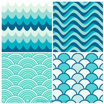 Water waves retro patterns