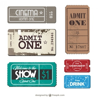 Tickets collection vector set