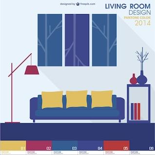 Pantone design living room vector