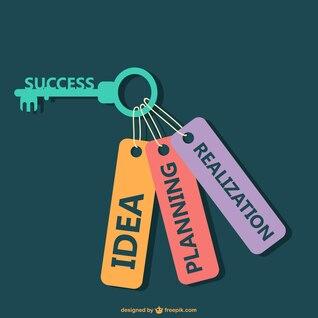 Flat vector key for succes illustration