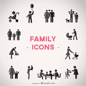 Family vector icons set
