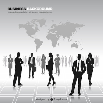 Business people silhouettes world map vector