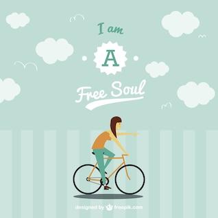 Free spirit on bike vector image