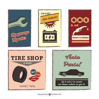 Vintage auto emblems vector set