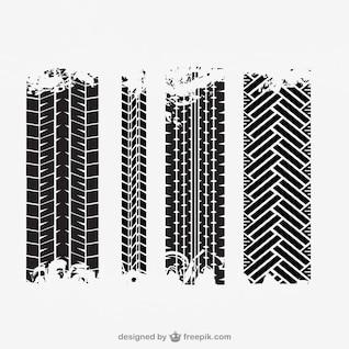 Tire tracks vector set