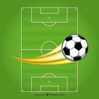 Vector soccer ball on field