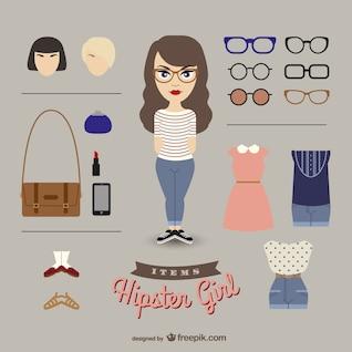Hipster girl dress up girl
