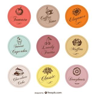 Food treats labels vector set