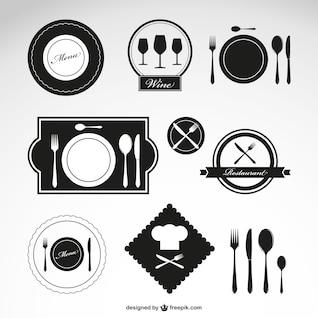 Restaurant vector symbols set