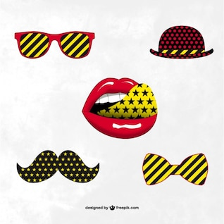 Hipster fashion accesories trendy vector set