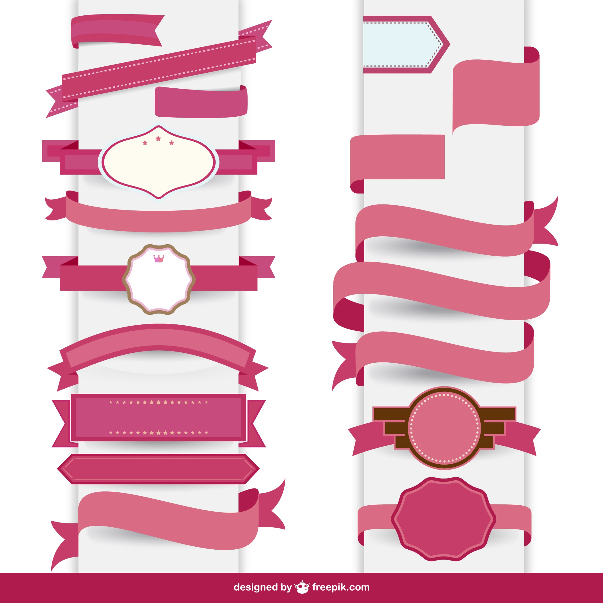 Ribbon pink decorative template