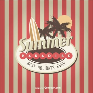 Retro summer paradise vector background