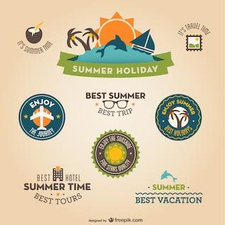 Retro flat vacation badges