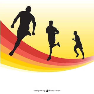 Running race silhouettes background