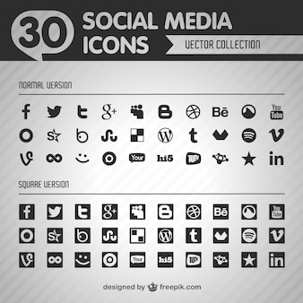Social flat vector black icons