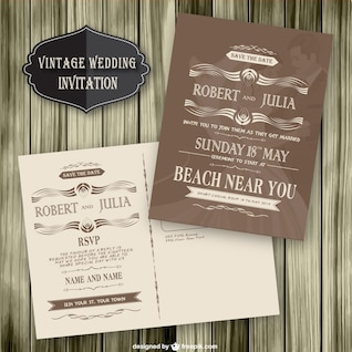 Vintage wedding invitation wood template