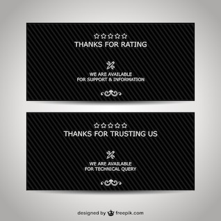 Thank you business banners set