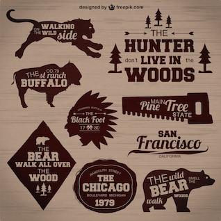 Hunting badges vector set