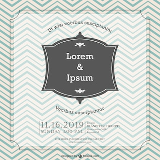 Retro chevron vector wedding invitation