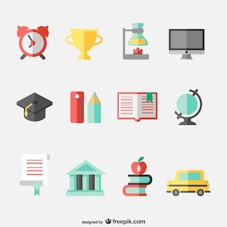 Education concept flat icons set