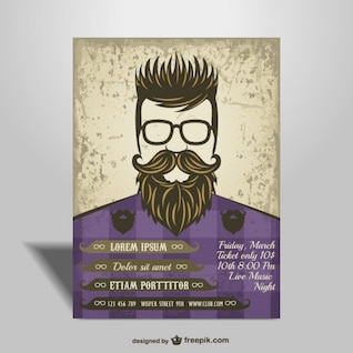 Hipster style poster free design