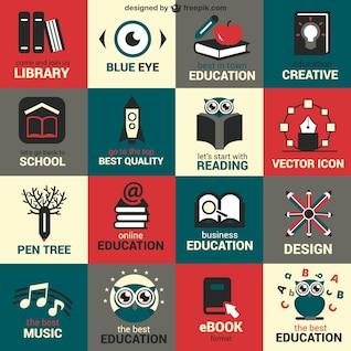 Flat education symbols set
