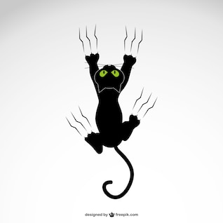 Cat grabing with claws vector design