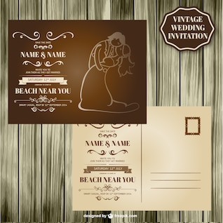 Retro wedding card wood design