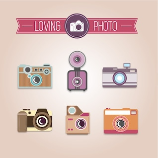 Photography collection of vintage cameras vector