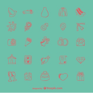 Doodle wedding icons set